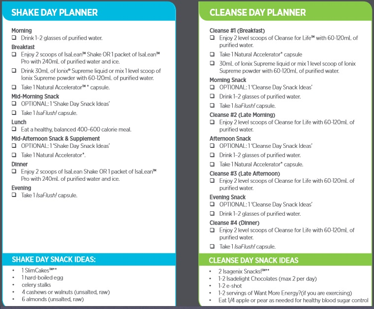 Day Planner shown below (contained within the Isagenix 30 Day