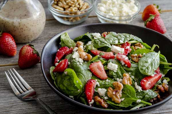 Summer Salad with Strawberries and Poppy Seed Dressing