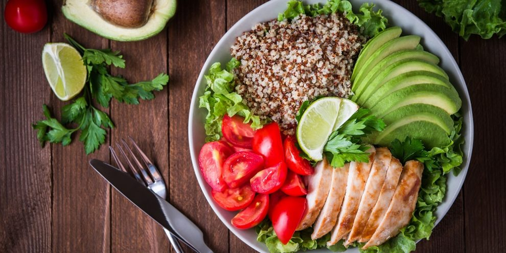 Healthy salad bowl with mix of macronutrients