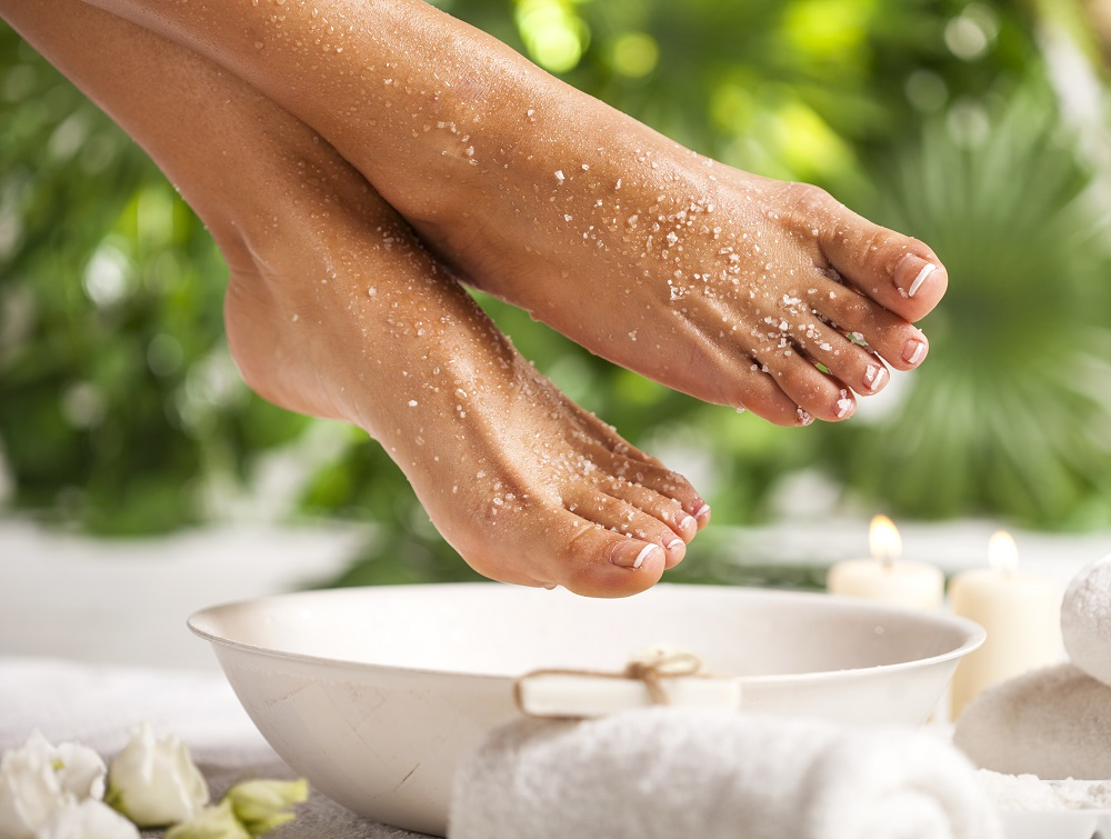 Woman enjoying a foot bath