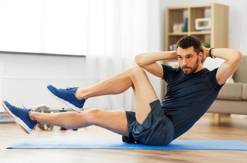 No need for equipment when doing crunches.